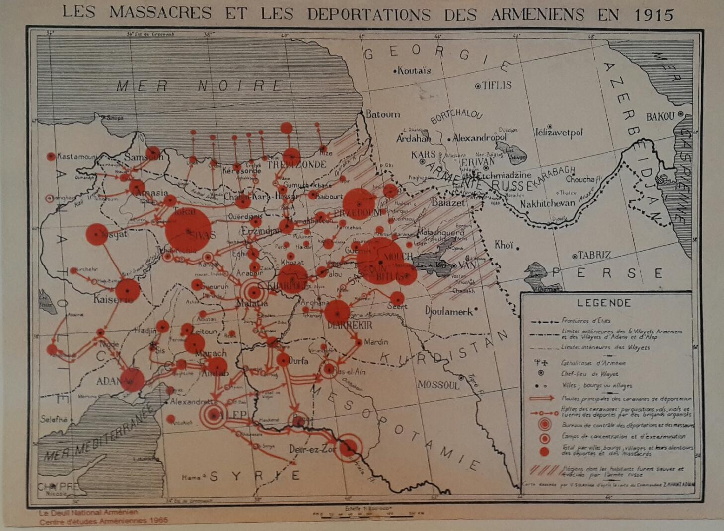 Massacres and Deportations of the Armenians 1915.  Courtesy of Centre d'études Armeniens 1965; Collection IUT Blois, France.