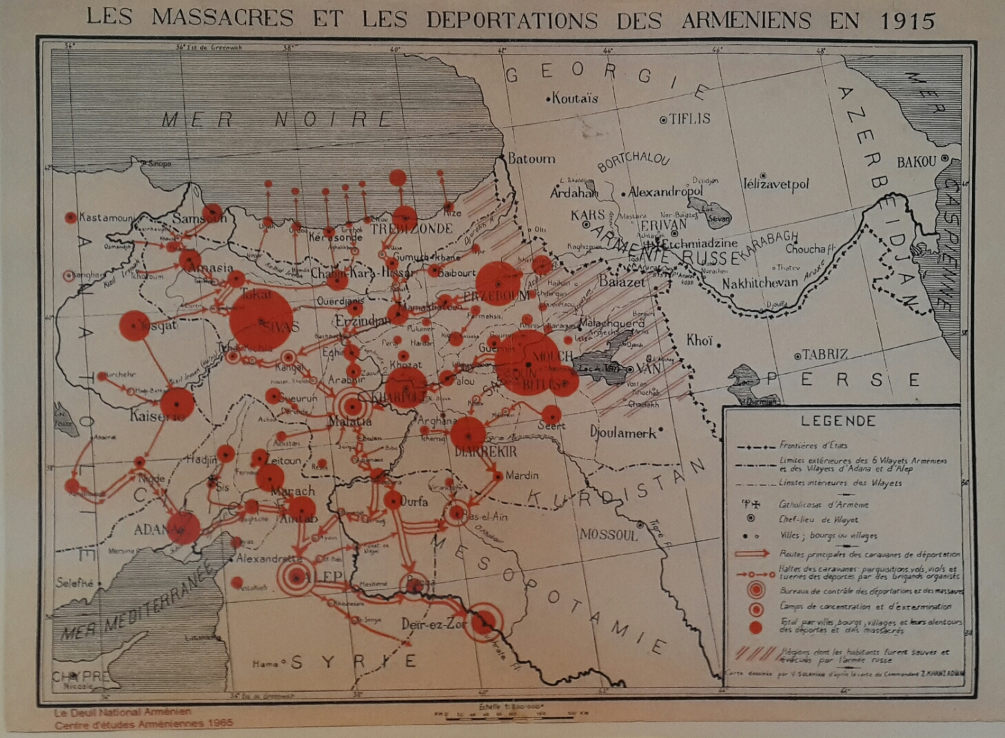 Massacres and Deportations of the Armenians 1915.  Courtesy of Centre d'études Armeniens 1965; Collection IUT Blois, France.