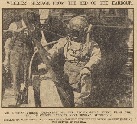 Mr Norman Friend preparing for underwater broadcast, Sydney 1925